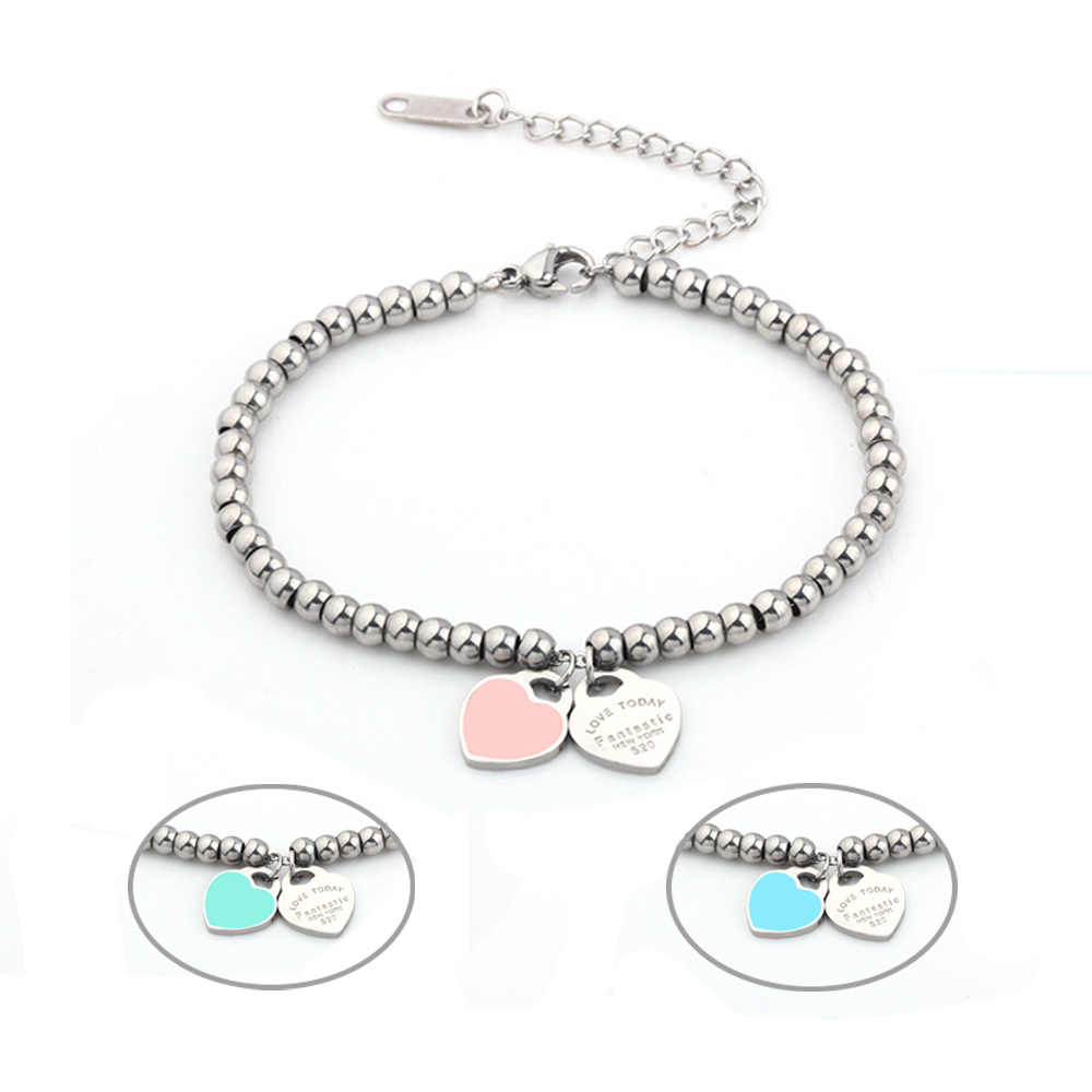 4mm beads charm heart bracelet charms femme female friendship bracelets for women stainless steel jewelry accessories braclet
