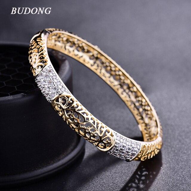 BUDONG Fashion Hollow Huggie Bangle for Women Gold-Color Infinity Pulsera Crystal Zirconia Wedding Jewelry XUZ016