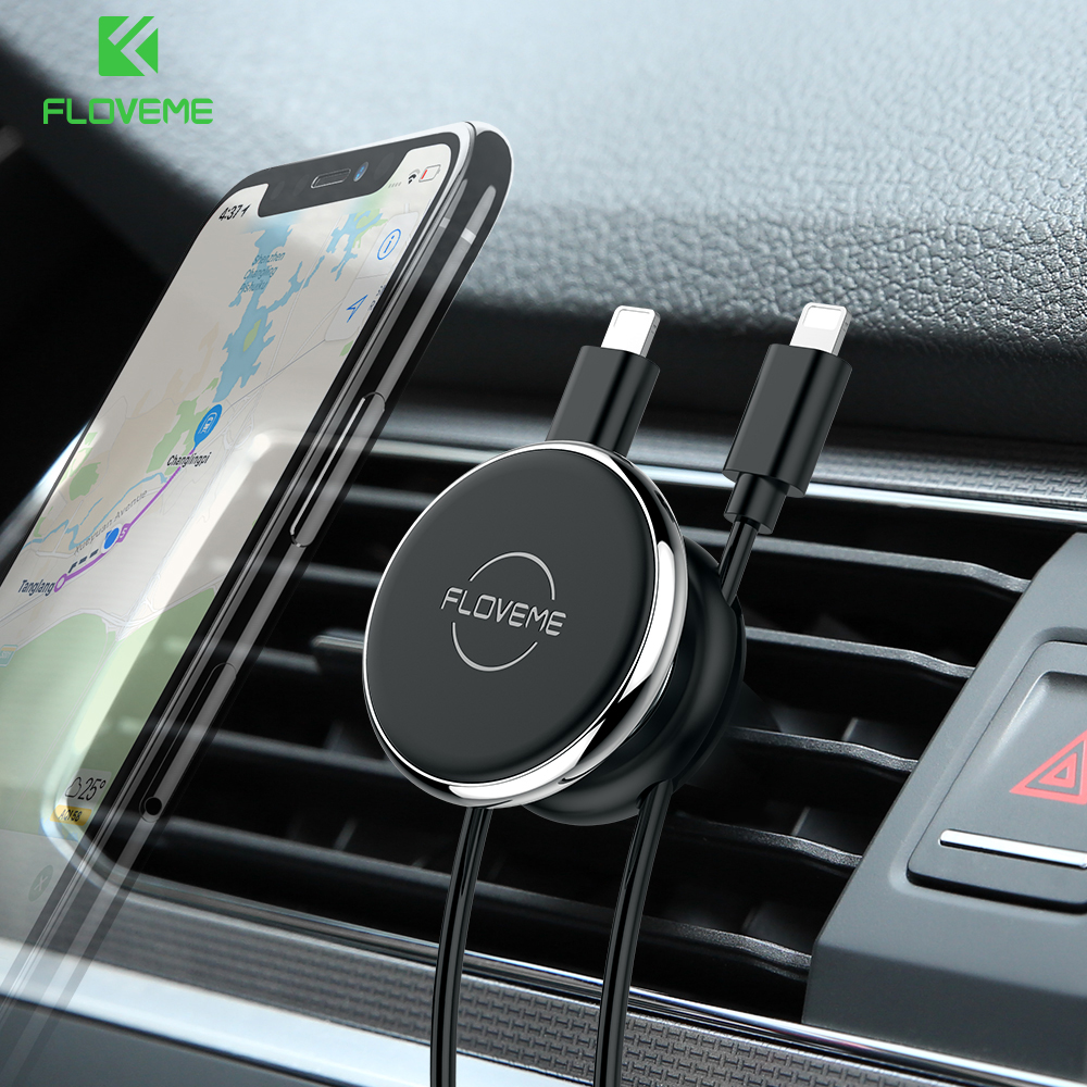 FLOVEME Magnetic Car Holder For IPhone XS Samsung Mobile Phone Holder Stand GPS Air Vent Mount Car Phone Holder With Cable Clip
