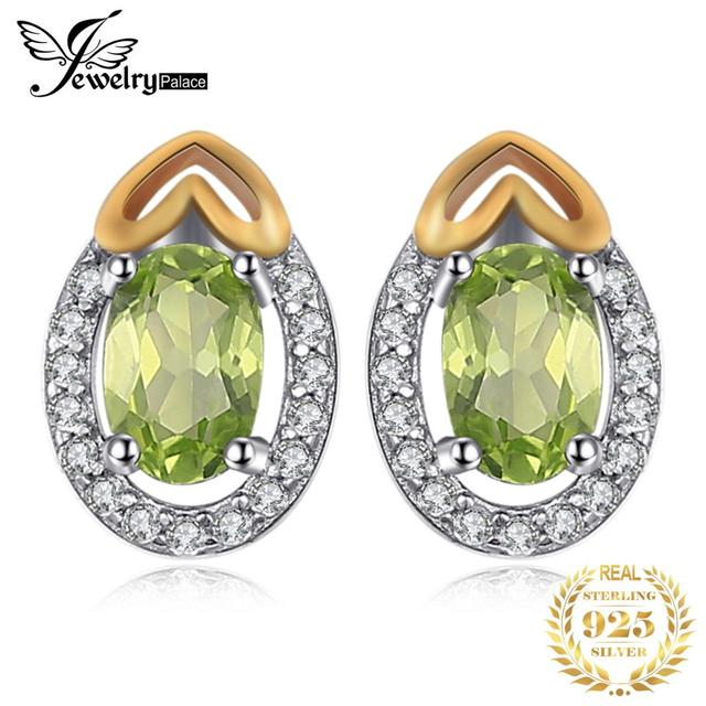 JewelryPalace Luxry 1.13ct Genuine Gemstone Peridot Stud Earrings 925 Sterling Silver Fine Jewelry Muticolor for Women Gift