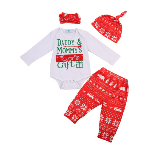 ef1bf17ba44d Christmas Newborn Baby Girl Boy Clothing Set Infant Xmas Clothes Letter  Romper +Long Pants + Headband + Hat 4Pcs Outfit Set