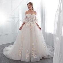 SINGLE ELEMENT Off Shoulder Lace Floral Applique Ball Gown Wedding Dresses Lace Up Back crisscross front lace applique cold shoulder tee