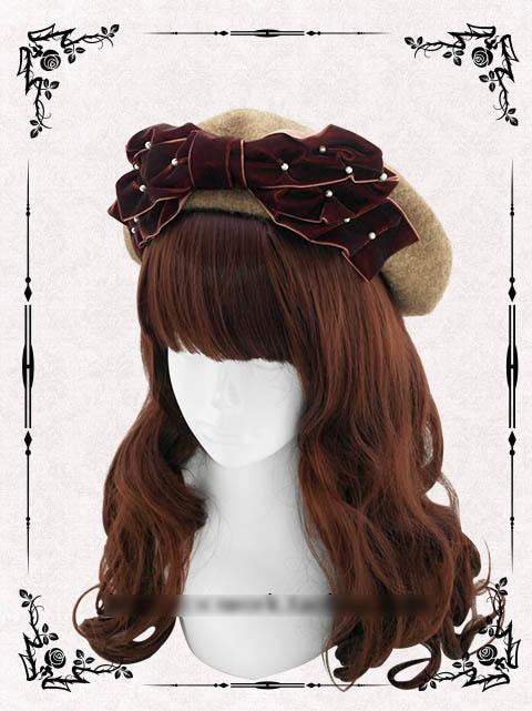 Princesa dulce Lolita sombrero 100% lana manual bonete de terciopelo  elegante perla arco Joker trigo cocido torta boina casquillo del pintor  personalizado 4ab2232f711