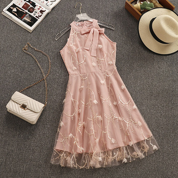 Sweet Fairy Sleeveless Floral Embroidery Mesh Gauze Dress