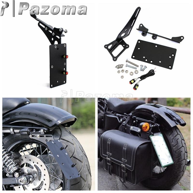 Motorcycle harley Folding Side Mount License Plate Light Bracket For Harley Sportster XL 883 xl1200