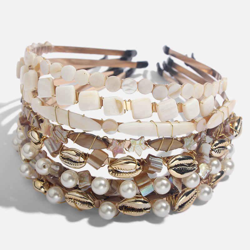 Flatfootsie Boho ethnique perle coquille bandeau pour femmes mariage cheveux accessoires chapellerie de mariée bandeau tête cerceau fête bijoux