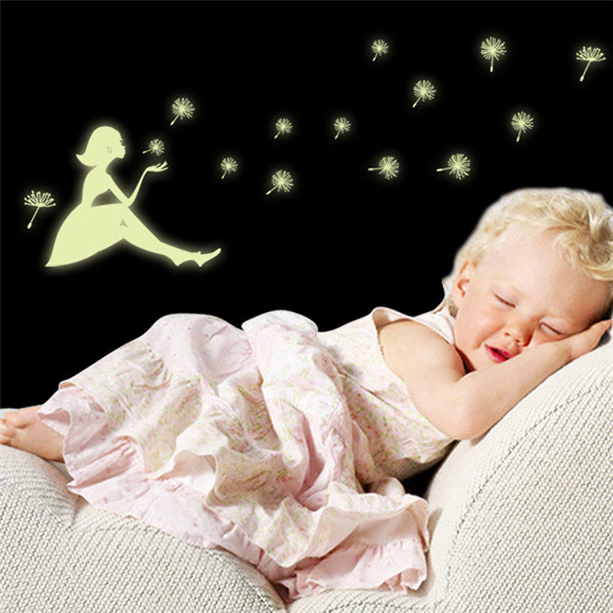 Wallpaper Sticker Glow In The Dark Dandelion Angel Christmas Snowflake Luminous Wall Sticker Decor Wallpapers For Living Room B#