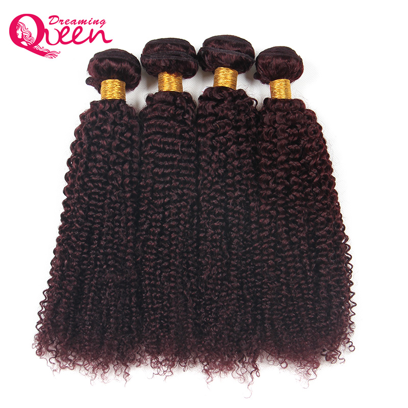 99J Burgundy Color Brazilian Kinky Curly Human Hair Extension No Remy Human Hair Weave Bundles Dreaming Queen Hair Free Shipping