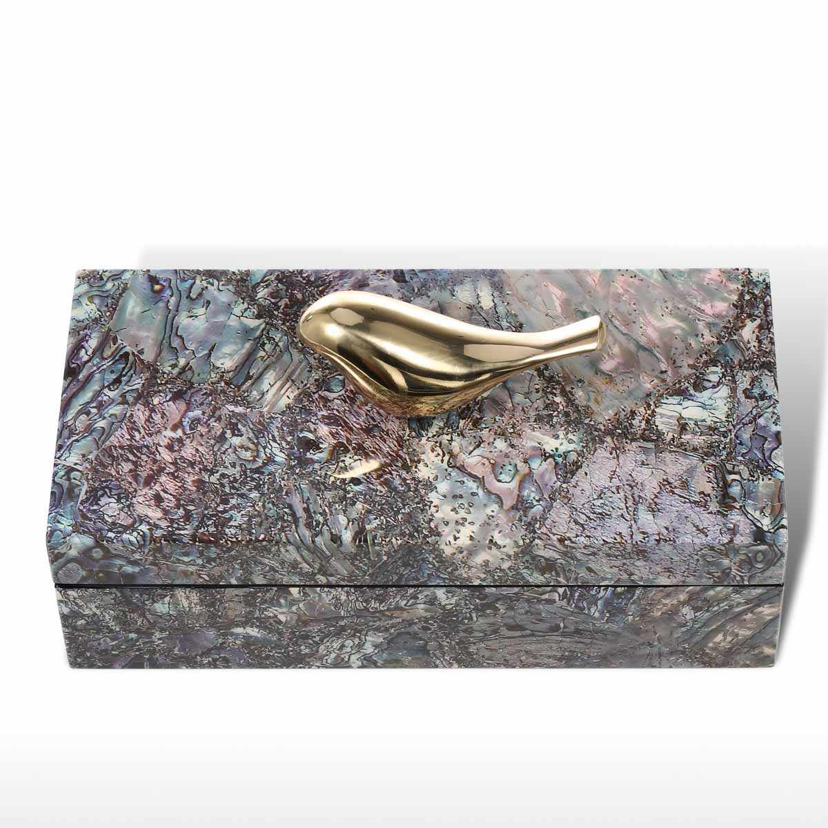 Tooarts Jewelry Box with Copper Bird Wooden Trinket Decoration Ring Necklace Storage Box Birthday Gifts for Women Black Velvet