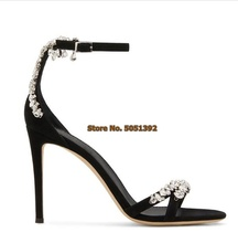 Women High Heel Sandals Peep Toe Suede Rhinestone Elegant Banquet Shoes Glittering Jewelry Stiletto Heel Pumps Ankle Strap elegant women s pumps with chunky heel and ankle strap design