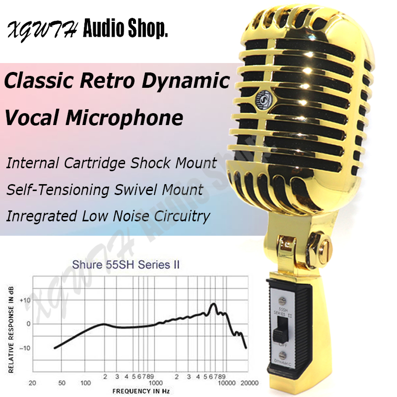 Gold Metal 55SH II Cardioid Dynamic Microphone Vocal Classical Vintage Style Karaoke Microphone for Shure 55SH Series MicrophoneGold Metal 55SH II Cardioid Dynamic Microphone Vocal Classical Vintage Style Karaoke Microphone for Shure 55SH Series Microphone