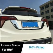 Car Styling Chrome ABS Rear Door License Plate Frame Cover Sticker 1PC For HONDA VEZEL HR-V HRV 2014 15 2016 Exterior Decoration