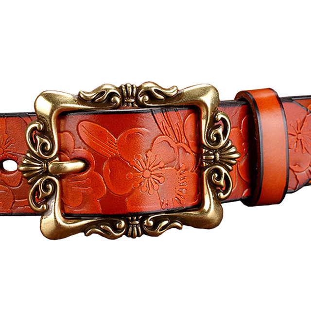 Women's Wide Belt Fashion Genuine Leather Vintage Floral Pin Buckle High Quality