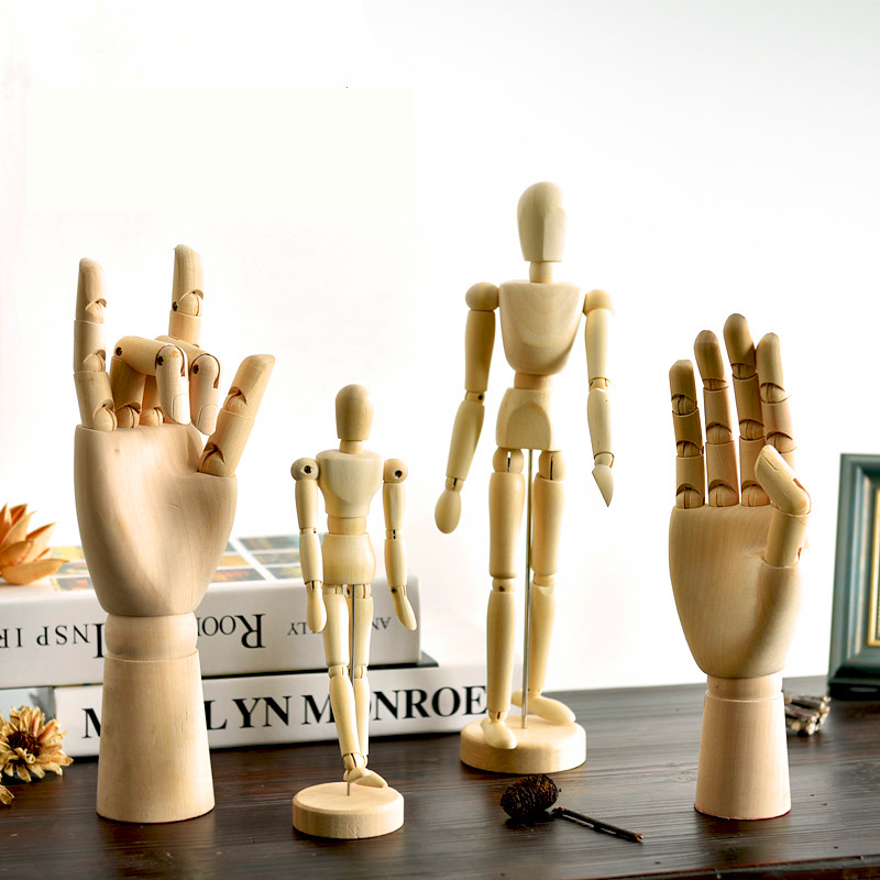 Wood Artist Movable Limbs Male Mannequin Miniatures Wooden Articulated Modle Hand SKETCH Figurines decoration crafts gifts