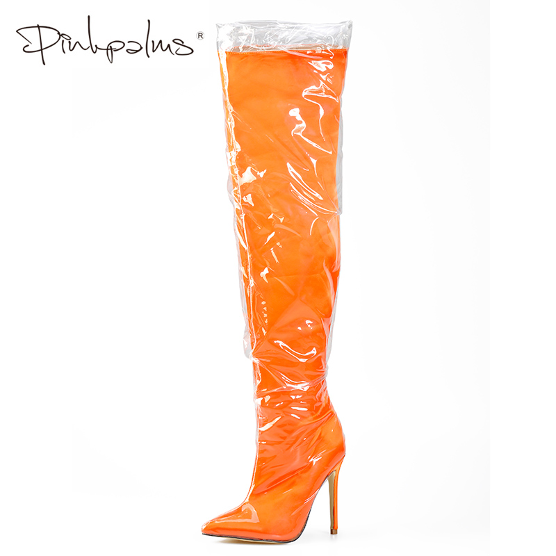 choose official closer at how to purchase US $69.99 50% OFF|Pink Palms Thigh High Clear Plastic Boot With Thick  Sponge Inside Over the Knee Boots Perspex Warm High Heels Women Boots  Orange-in ...