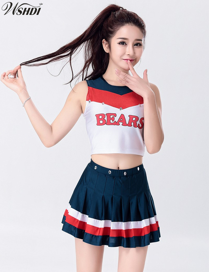 S-XXL Fashion Sexy High School Musical Cheerleader Uniform Cheer Girls Cheerleading Costume Tops and Skirt
