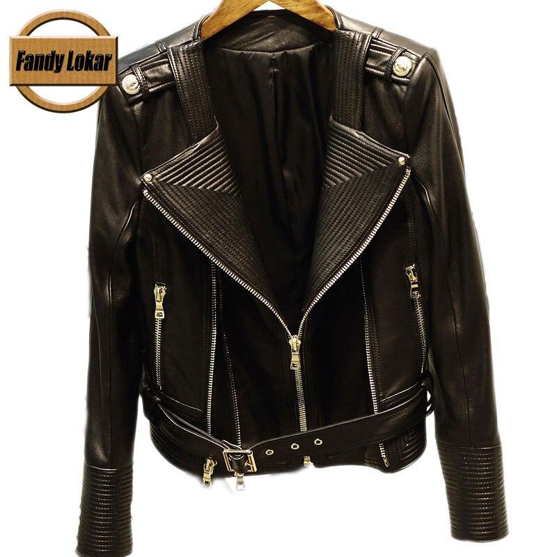Real Leather Women Jackets    Slim Slim Short Punk Jacket  Genuine -2833