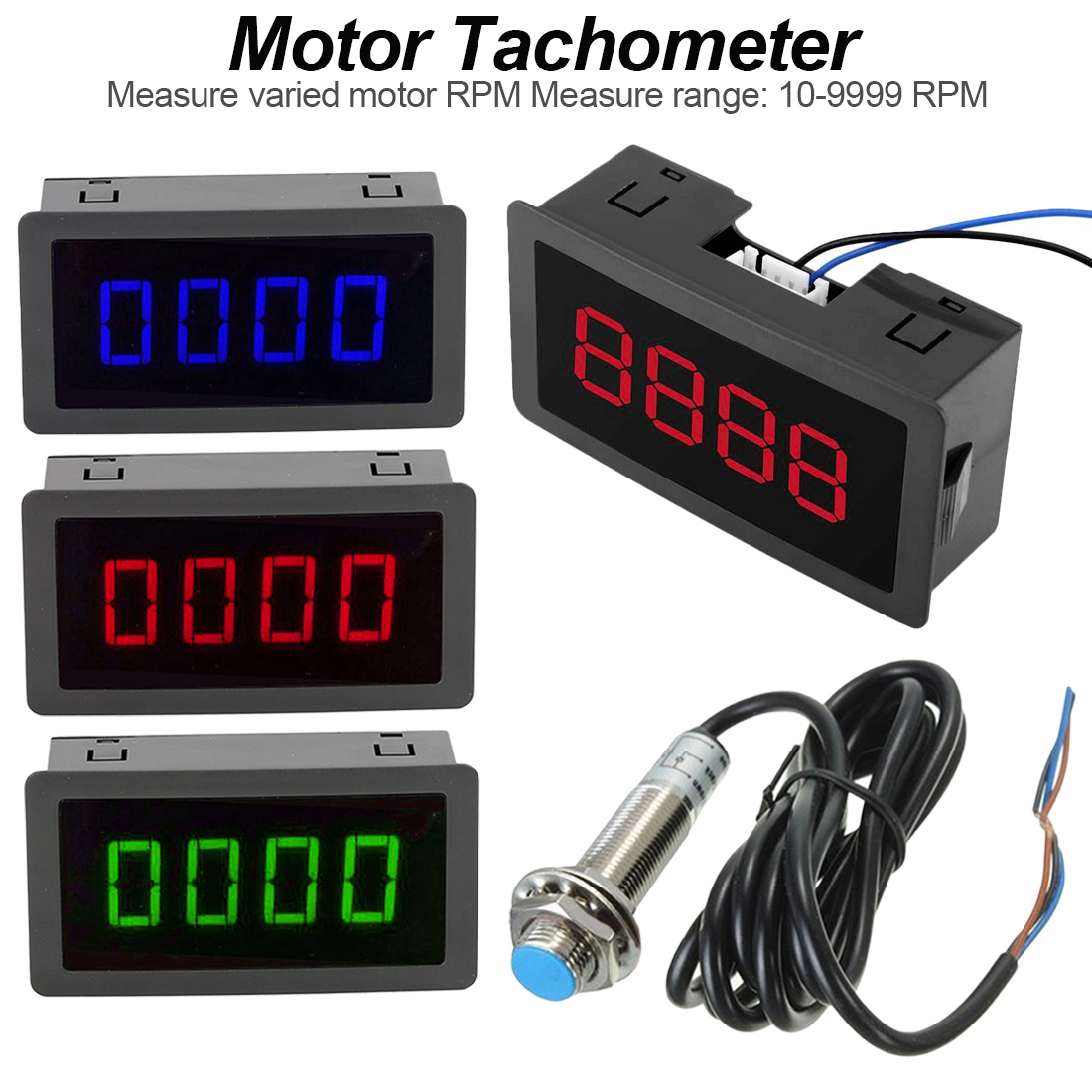 10-9999RPM DC 8-15V Hall Proximity Switch Sensor NPN And 4 Digital LED Red/Blue/Green Tachometer RPM Speed Meter Tools