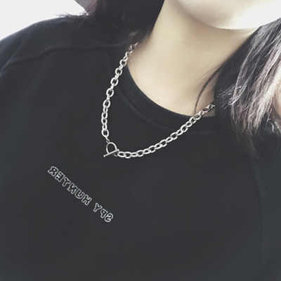 Fashion personality simple word buckle titanium steel street sweater chain trend men and women necklace hot sale