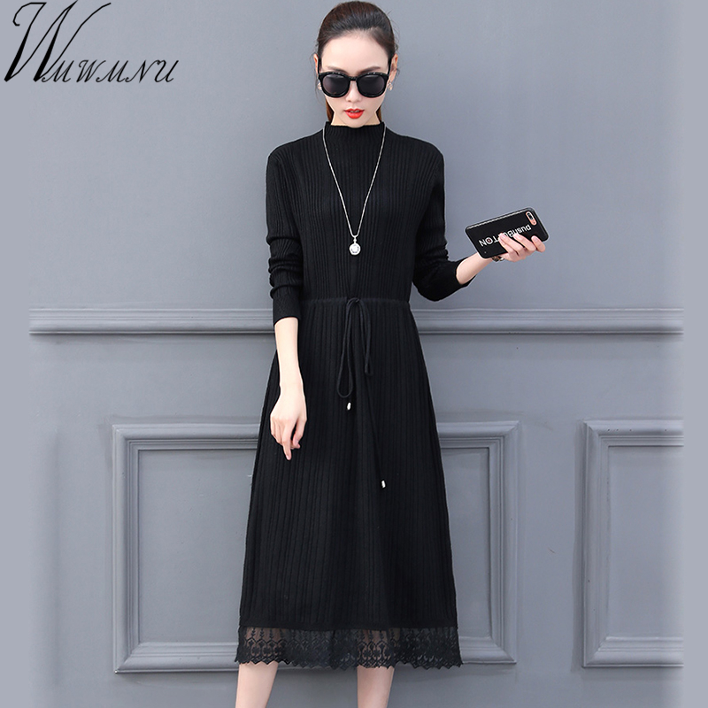 New casual Women long sweater dress 2018 spring sexy slim Bodycon Dresses Elastic waist adjust Dress solid Knitted Dress vestido