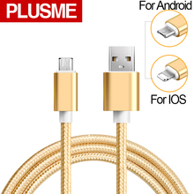 PLUSME Fast Charging Micro Usb Cable Nylon Alloy 1M 2M Mobile Phone Charger Cable For Iphone 5s 6s 7 Samsung HTC Xiaomi Android