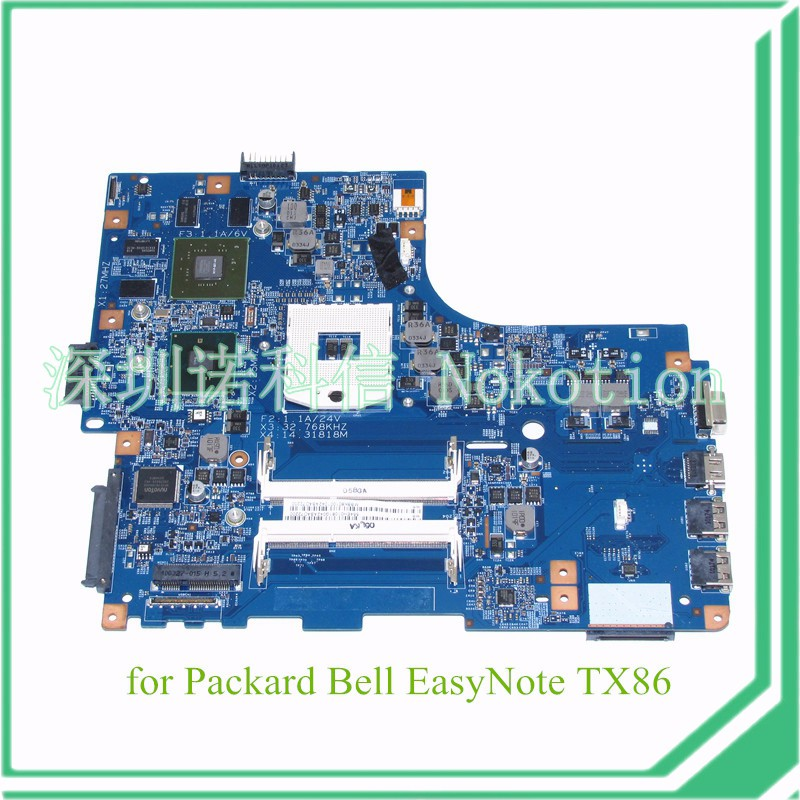 NOKOTION 48.4EH02.01M MBBK801001 MB.BK801.001 For Packard Bell EasyNote TX86 laptop motherboard HM55 GeForce GT330M ноутбук packard bell easynote tg81ba p9n2 nx c3yer 016