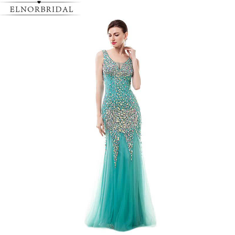 Modest Turquoise Mermaid Prom Dresses Long 2017 Beading Crystal Tulle V Neck Illusion Back Formal Evening Gowns Party Dress