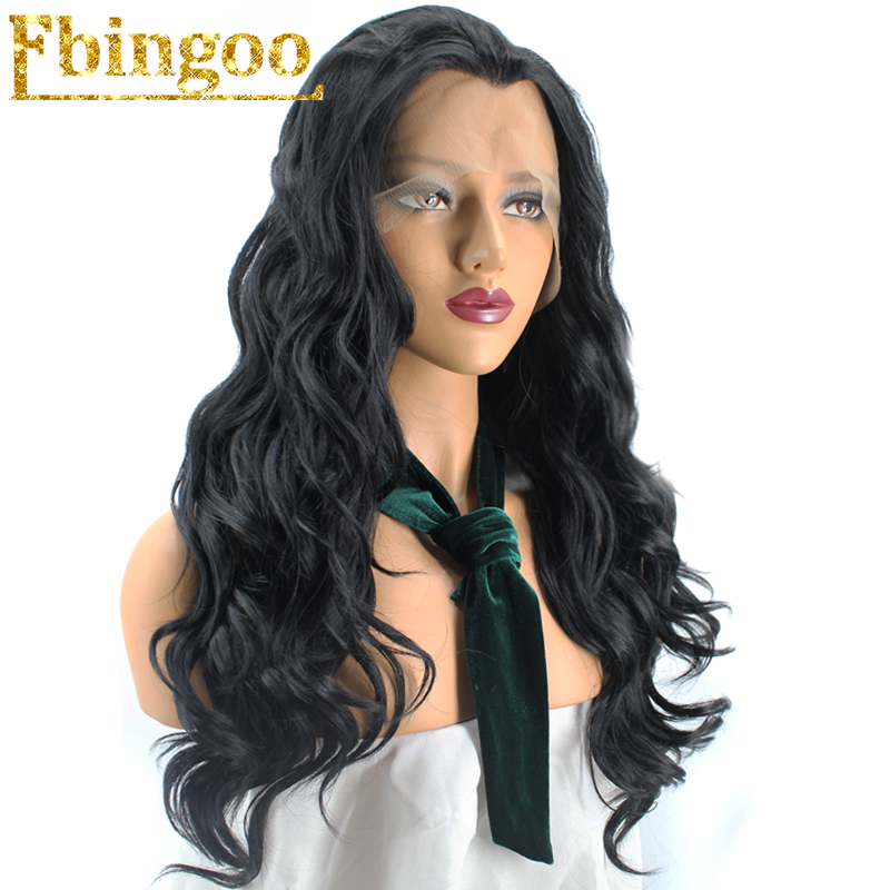Ebingoo High Temperature Fiber Brazilian Hair Wigs Long Body Wave Black Synthetic Lace Front Wig For