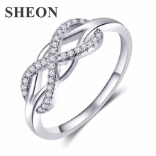 SHEON 2 Colors Geometric Infinity Ring Trendy Simple Micro Inlaid Zircon Rings For women Wedding & Engagement Jewelry New Design
