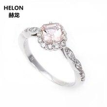 4ac2b1684548 Sólido 14 k oro blanco diamantes naturales 6 MM amortiguador corte puro anillo  de compromiso anillo de boda Art Deco Vintage