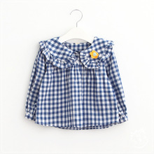 2016 Babies Striped Blouses Kids Girls Princess Cotton Shirts Baby Girl Autumn Ruffles Shirts Children's wholesale clothing