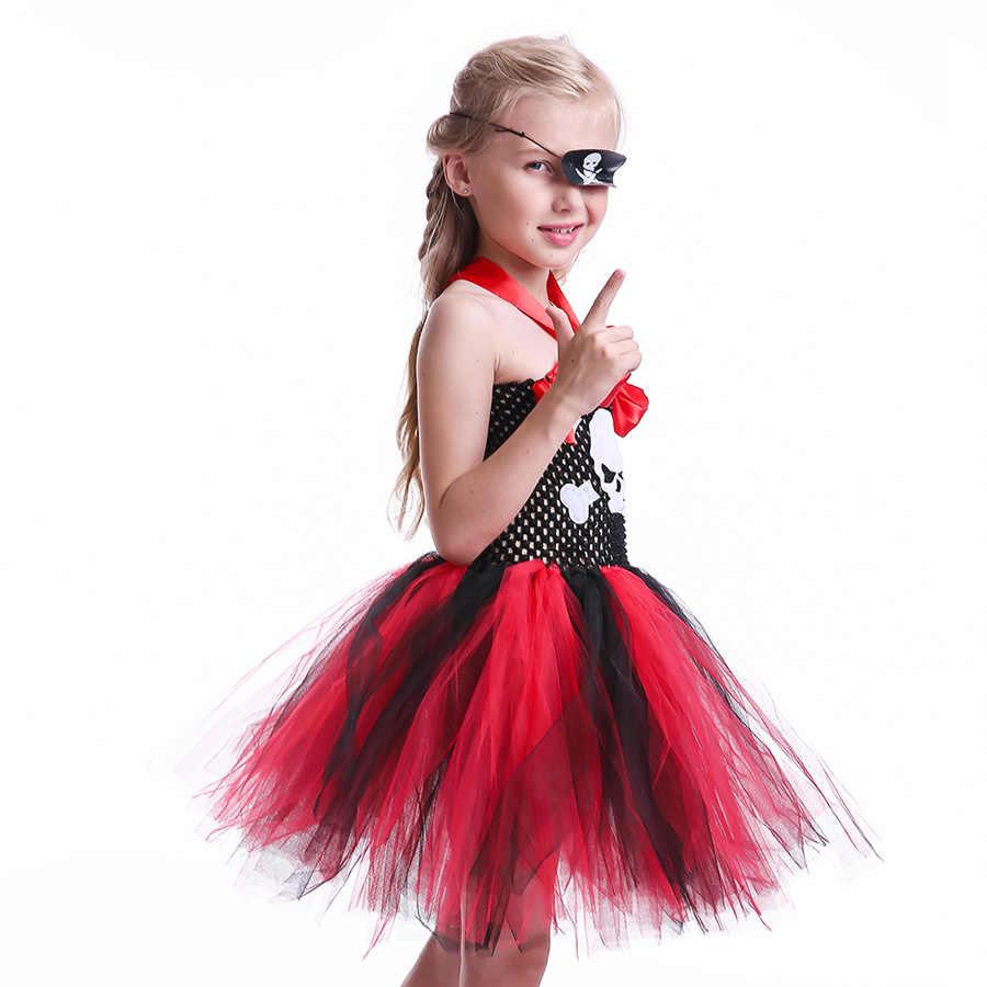 القراصنة مستوحاة الفتيات توتو فستان الاطفال هالوين موضوع مسابقة ارتداء الجمجمة زخرفة الأطفال تول حفلة صور زي