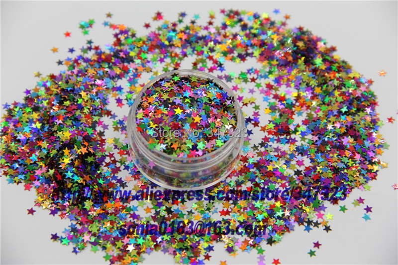 SL3-86 Mix 3 MM Laser Holographic Color Glitter STAR shape Glitter for Nail Art and DIY supplies dn2 39 mix 2 3mm solvent resistant neon diamond shape glitter for nail polish acrylic polish and diy supplies1pack 50g