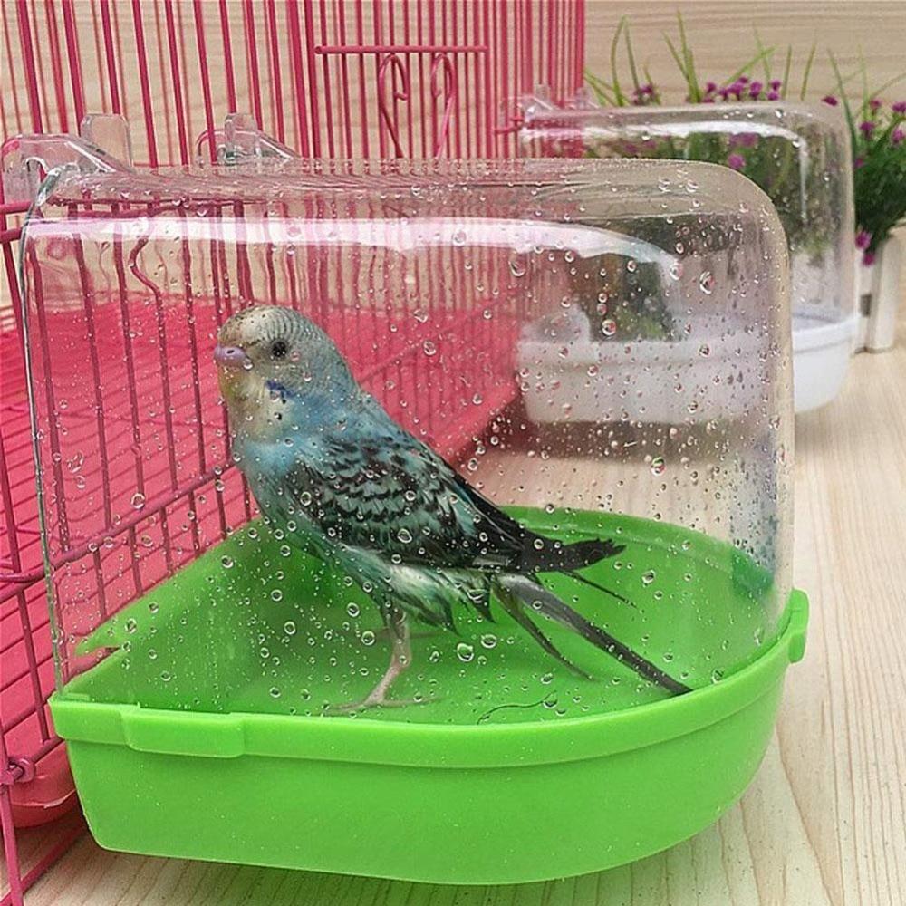 Clean Parrot Bird Bathtub Box Bird Bath Shower Standing Wash Box Hanging Cage