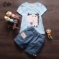 (2 pçs/set) 2016 novas crianças T + calças curtas definir Marca Bebê Menino/Menina Roupas de Algodão Dos Desenhos Animados dinossauro curto Tee