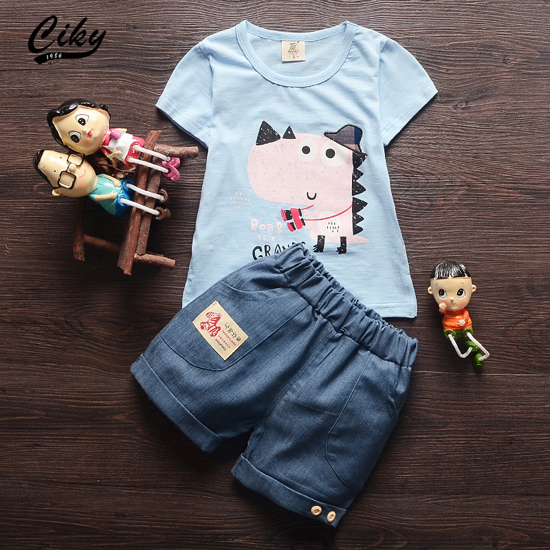 (2pcs/set) 2016 new children short Tee + pants set Brand Baby Boy/Girl Clothes Cotton Cartoon dinosaur short Tee