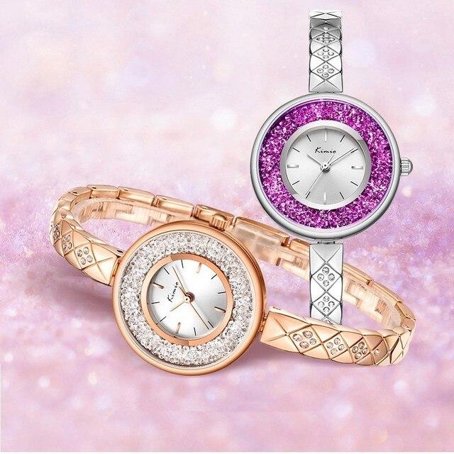 KIMIO Rolling Diamond Watch Women Creative Women Watches Rose Gold Ladies Casual