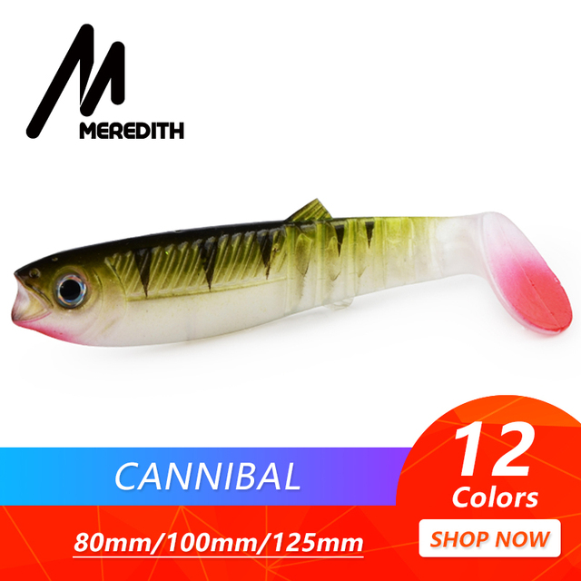 MEREDITH Cannibal Baits 80mm 100mm 125mm Artificial Soft Fishing Lures Wobblers Fishing Soft Lures Silicone Shad Worm Bass Baits
