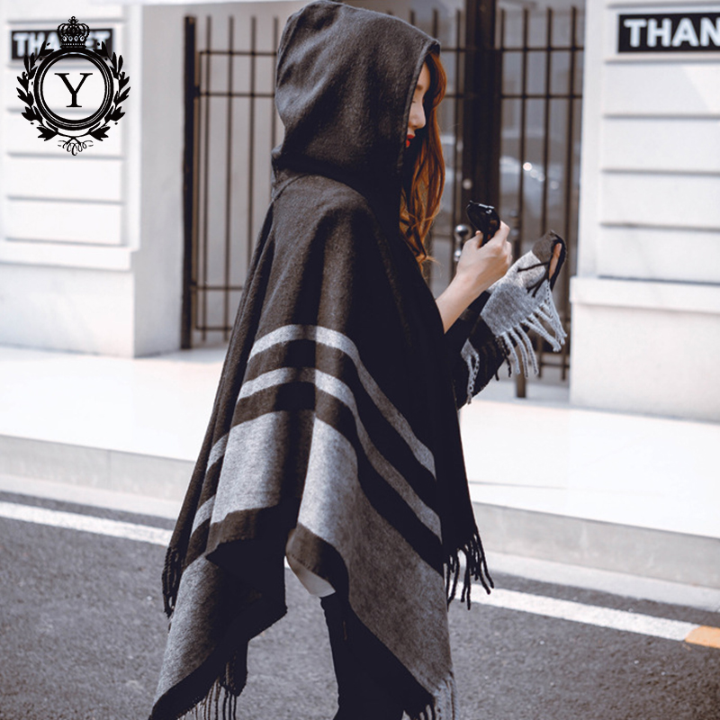 COUTUDI Hooded Ponchos and Capes Women s Winter Scarves Wool Hood Poncho Scarf Oversize Pashmina Cashmere