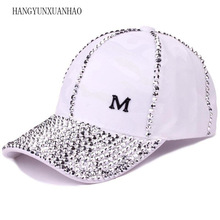 Women  Hat New Design luxury Rhinestone Casual Fashion Snapbacks Baseball Cap Solid Adjustable Size Caps