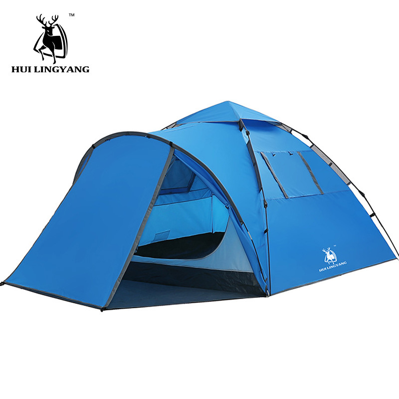 Tourist tent large space double 3 4 people tent hydraulic automatic waterproof 4 season outdoor family