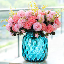 10 Heads Hydrangea Artificial Flowers Ball Bunch Fake Flowers Silk DIY Home Decor Faux Flowers Wedding Decoration Table Bouquet(China)