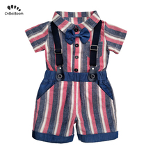 Newborn baby boy clothes Summer Kids Clothing Sets Boy pink tie bow romper shorts 3pcs Infant T-shirts+Shorts Outfits