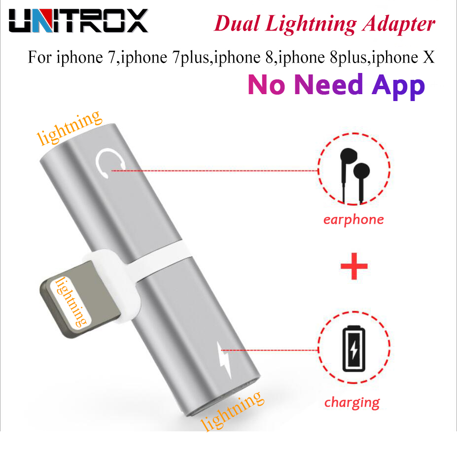 2 in 1 Audio Charging Adaptor dual For Lightning to 3.5mm Earphone Aux Jack Cable Adapter For iPhone 5 6 7 8Plus X Audio/Calling replacement earphone jack module for iphone