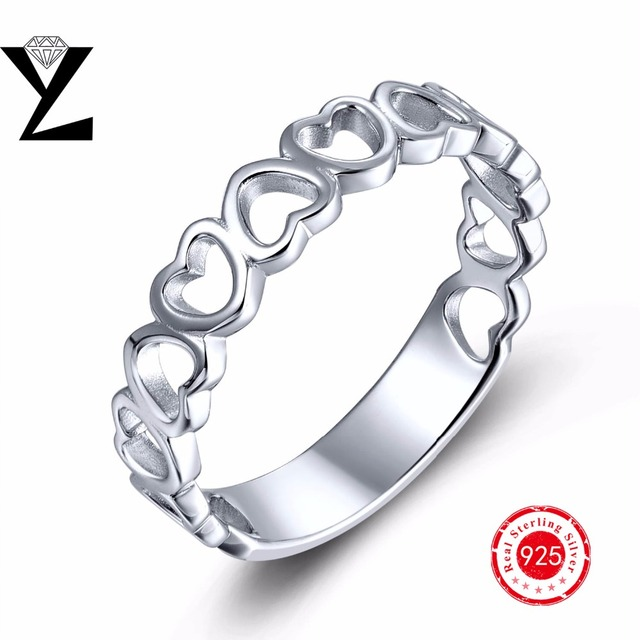 Silver ring 925 sterling silver rings for women without stone white gold plated engagement sterling silver rings heart shape