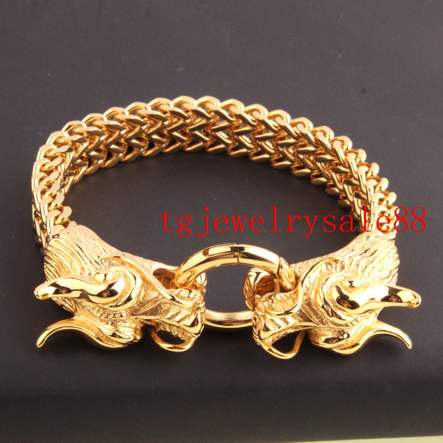"""13MM Heavy Stainless Steel Gold Plated Double Dragon Biker Clasp Fashion Figaro Chain For Cool Men's Bracelet Bangle 8.66"""""""