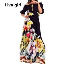 8b04b5b96c Liva dziewczyna Off ramię lato Maxi plaża sukienka Plus rozmiar kobiety  tunika Casual długa Boho sukienka Runway Hippie Chic odz.