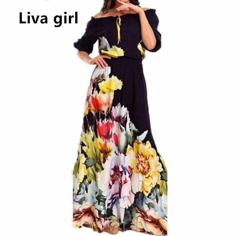 5becb193582 Liva Girl Off Shoulder Summer Maxi Beach Dress Plus Size Women Tunic Casual  Long Boho Dress