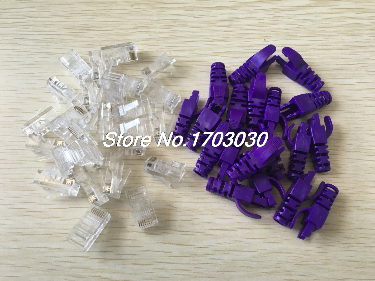 25 Sets RJ45 Network Plug Connector w Purple Boot Cover for Cat5 Cat5e Cable