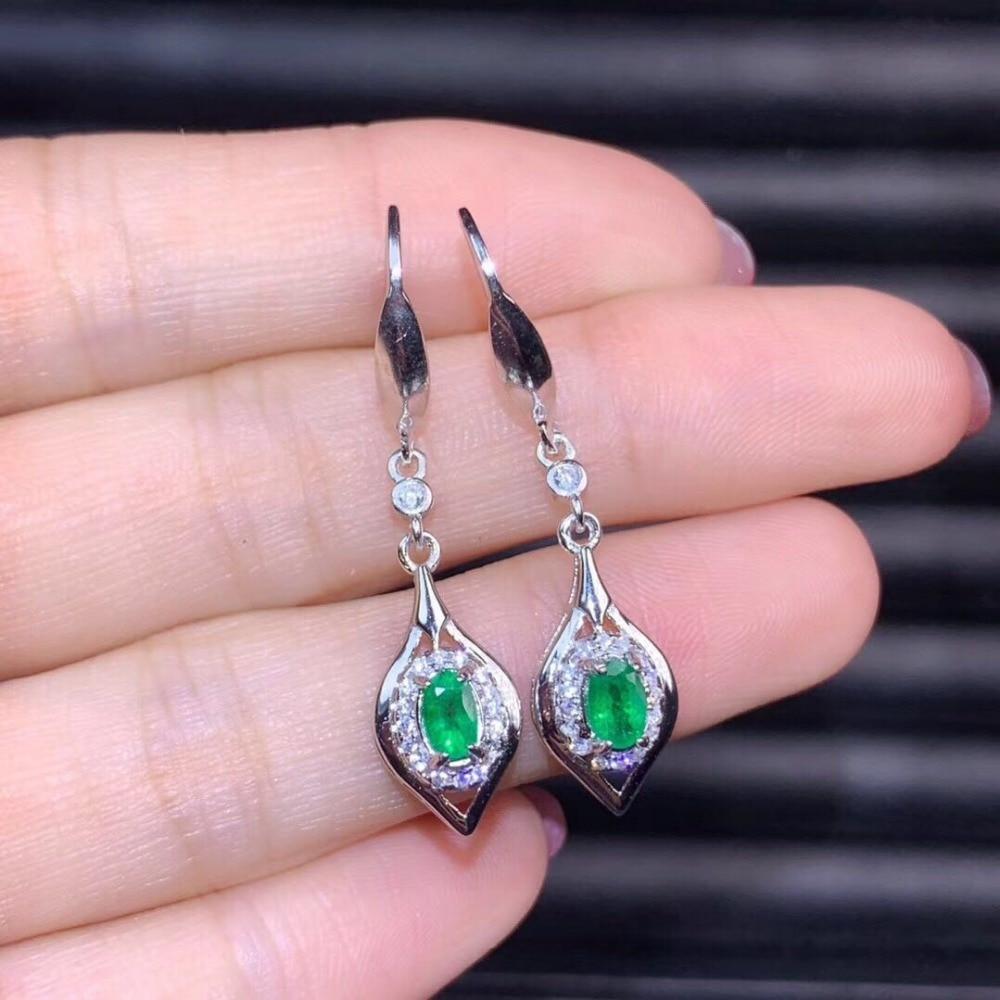 Mode Vrouwen sieraden Ronde drop natrue Emerald Stud Sliver 925 Oorbel Voor Vrouwen-in Oorbellen van Sieraden & accessoires op  Groep 1